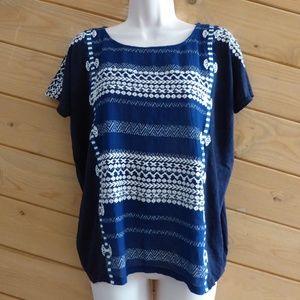 J.Crew Indigo Blue Embroidery Stripe Oversized Top
